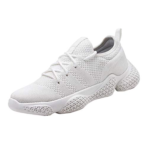 (Golike Men's Sneakers Mesh Breathable Shock Absorbing Hip Hop High Air Cushion Casual Shoes Running Fitness Training White)