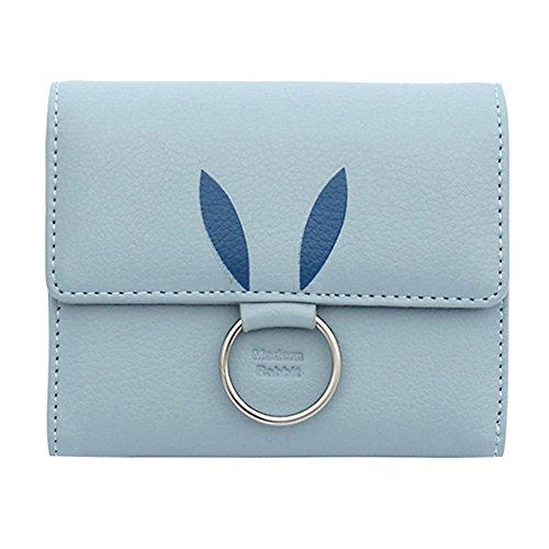 Women Short Sky Credit Leather Kukoo Rabbit Clutch Blue Pattern Trifold Holder Bag Wallet Card Button tdRxqx