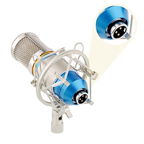 eBerry Condenser Microphone, Large Diaphragm Studio Broadcasting & Recording Vocal Condenser Mic with Shock Mount Holder Clip (Blue) by eBerry (Image #4)