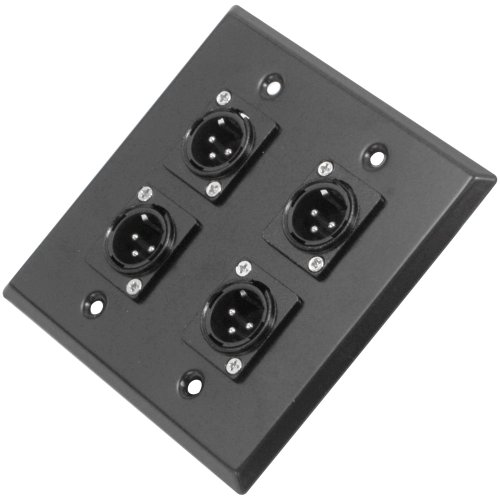 LATE4 - Black Stainless Steel Wall Plate - 2 Gang with 4 XLR Male Connectors - Cable Installation ()