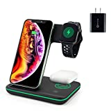 Wireless Charger, 3 in 1 Qi Certified 15W Fast Wireless Charging Station for Apple iWatch Series SE/6/5/4/3/2/1,AirPods 2/Pro, Compatible for iPhone 12/11 Series/XS MAX/XR/XS/X/8/8 Plus/Samsung