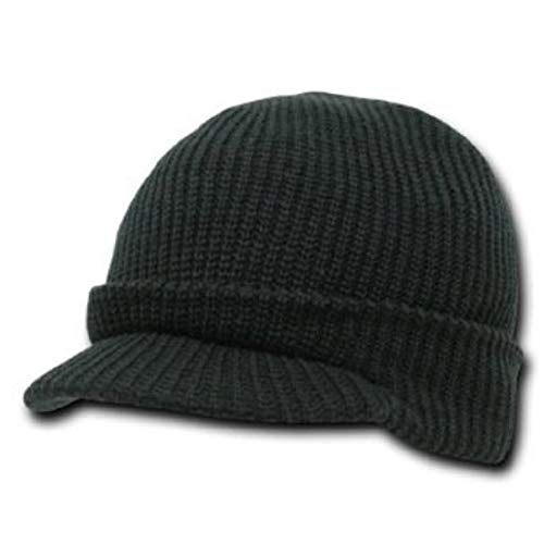 Solid Black Jeep Radar Billed Beanie Stocking Cap Hat for sale  Delivered anywhere in USA
