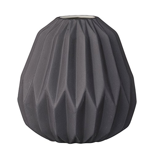 Bloomingville Short Matte Black Fluted Ceramic Vase