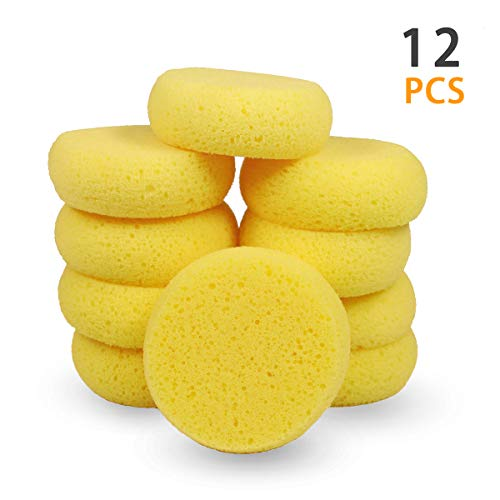 Synthetic Sponges, Round Watercolor Sponge for Artist Face Painting, Painting, Crafts, Pottery, Clay, Ceramics, Wall 12pcs ()