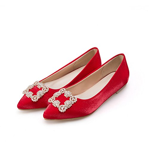 BalaMasa Womens Charms Pull-On Pointed-Toe Fabric Flats-Shoes Red G8Ymz