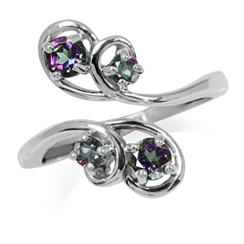 Mystic Fire Topaz 925 Sterling Silver Swirl Bypass Ring Size 9