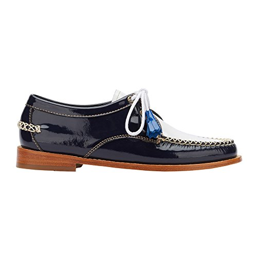 Gh Bass & Co. Vrouwen Winnie Smoking Loafer Navy / Wit Lakleer