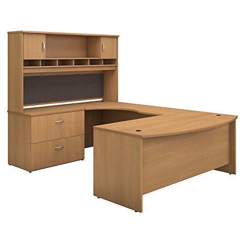 Bush Business Furniture Series C 72W Left Handed Bow Front U Shaped Desk with Hutch and Storage in Light (Hutch Light)