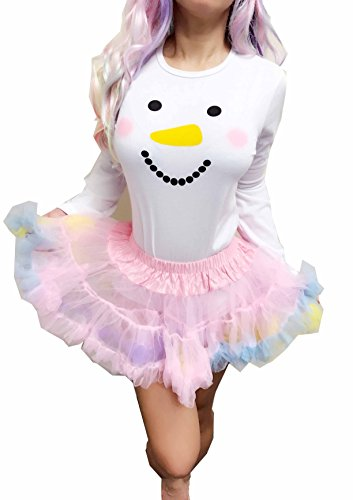ENVY BODY SHOP Adult Baby & Diaper Lover(ABDL) Snap Crotch Frosty The Snowman White Romper (XXX-Large, Romper With Rainbow Tutu)