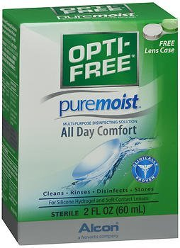 Lens Alcon Contact Solution (Opti-Free Puremoist Multi-Purpose Disinfecting Solution - 2 oz, Pack of 3)
