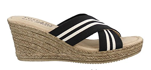 Criss Cross Wedge Sandal - Easy Street Women's, Malone High Heel Wedge Sandals Black/White 8 W