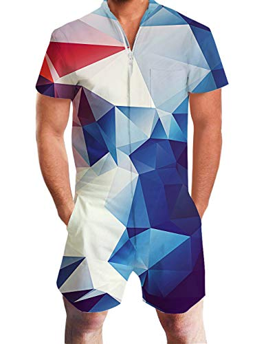 Men's Summer Jumpsuits 3D Gradient Geometry Pattern Slim Fit Awesome Romper Summer Tropical Hawaiian Jumpsuit Novelty Shorts Cargo Pants Zip Overall 90s Teen Clothes Boyfriend Onesies