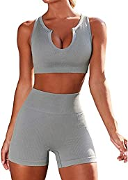 KFXFENQ Workout Sets for Women 2 Piece Seamless Ribbed Crop Tank High Waist Shorts Yoga Outfits