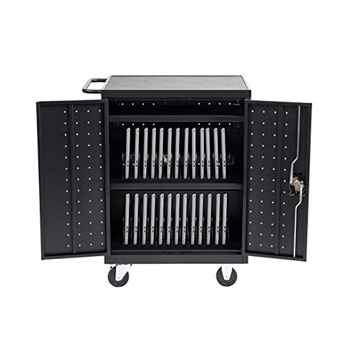 Pearington 32-Device Charging Station- Classroom and Office Power Cart With Wheels-Store Up To 13-Inch Electronics-Compatible With Chromebook, iPad, Tablet, and Laptop Computers-Secure Locking Storage