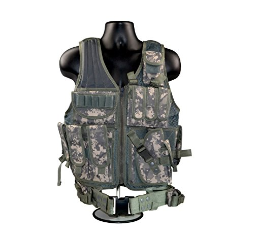 SNIPER Cross Draw Tactical Vest, 600D Polyster Oxford, Green Camouflage - G Tube Protective Belt