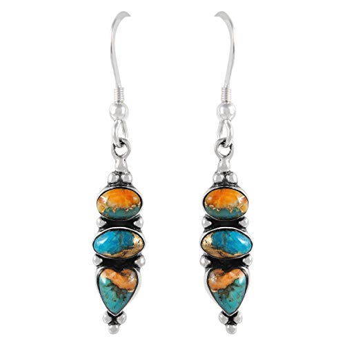 (Spiny Oyster Turquoise Earrings in 925 Sterling Silver (Select style) (3-Stone Drops))
