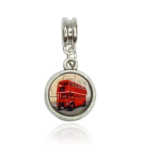 British Red Double Decker Bus Euro European Italian Style Bracelet Bead Charm
