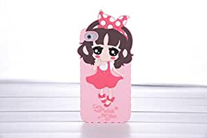 2014 New Cute and lovely cartoon design little girl Silicone Soft Cover Back Case For iPhone 4s (pink2)