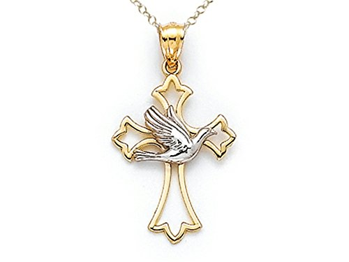 Finejewelers 14k Two Tone Polished Cross Pendant Necklace with Dove Chain Included