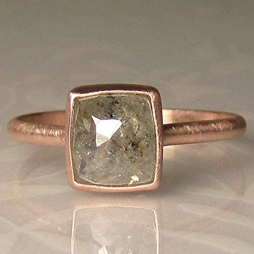 (Salt and Pepper Rose Cut Diamond Engagement Ring in 14k Rose Gold, 1.77 Carats)