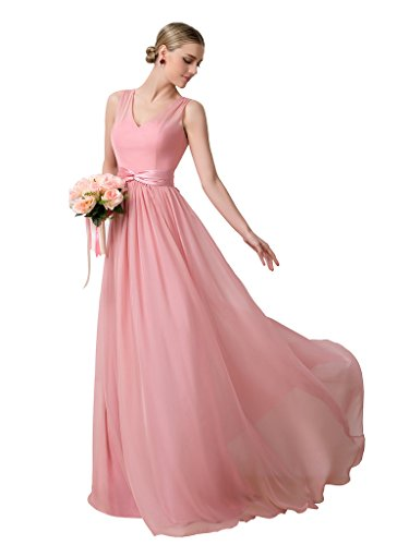 CLOCOLOR Women's V Neck Chiffon A Line Long Bridesmaid Dress Wedding Party Gown Size 26 Pink