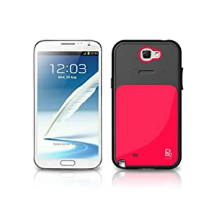 VERUS Premium Damda Card Slot Hybrid TPU and PC Hard Cover Bar Case for Samsung Galaxy Note 2 II - Red