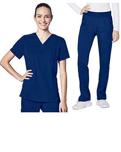Adar Responsive Scrub Set for Women - Classic V-Neck Scrub Top & Yoga Track Pants - R9100 - Deep Cobalt - M