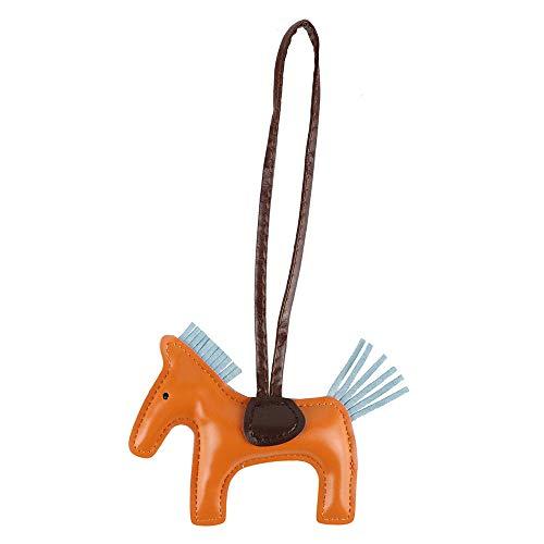 Jzcky Shzrp Horse Pu Leather Keychain Bag Charm Handbag Accessories Gift(Orange)