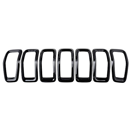 Astra Depot Compatible for 2014-2018 Jeep Cherokee 4-Door Grille Grill Cover Insert Kit 7pcs Glossy Black