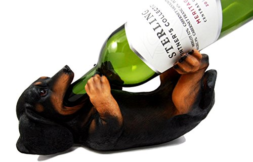 "Ebros Black And Tan Sausage Wiener Dachshund Dog Wine Bottle Holder Dog Wine Caddy Figurine 11""L"
