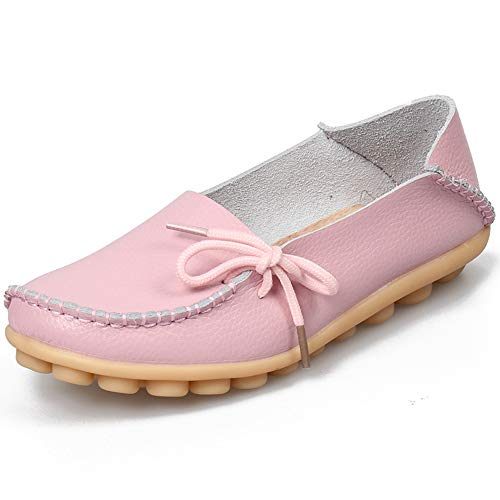 Women's Loafers Leather Flat Shoes Oxfords Coach Loafers Comfort Driving Moccasins Casual Slip On Breathable Women Shoes Pink 10