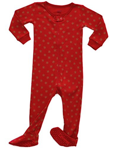 Leveret Kids Snowflake Baby Boys Girls Footed Pajamas Sleeper Christmas Pjs 100% Cotton (Size 18-24 Months)