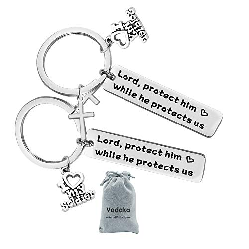 Military Mom Wife Gift Keychain Protect Him While He Protects Us for Army Mom Air Force Mom Navy Mom Wife(2 Pack)