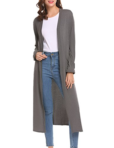 Locryz Womens Long Sleeve Open Front Soft Long Duster Cardigan with Pockets (S, Dark Gray) - Jeans Women Sweaters Cardigans