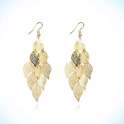 Great New Yellow Gold Plated Cascading Filigree Leaf Hook Dangle Drop Earrings For Women Lady