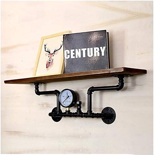 水パイプは、パイン、レトロな装飾、工業用スタイル古いラックをラック、鉄の本棚をウォールマウント (Color : A)