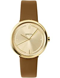 Women's 'Agnes' 1733e Gold and Brown Leather Strap Watch, 34MM