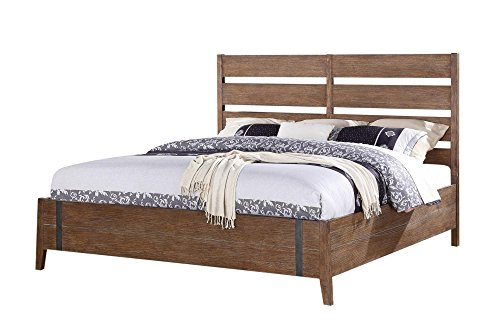 Emerald Home Viewpoint Driftwood Gray Bed with Wire Brushed Planks And Metal Detailing, King