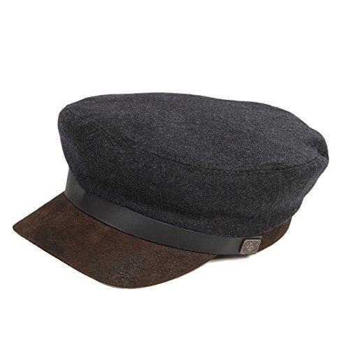 Leather Jake Big - Dasmarca Mens Spitfire Brando Wool Felt Cap with Leather Peak - Jake Charcoal L