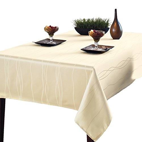 Benson Mills Gourmet Spillproof Fabric Tablecloth, Ivory, 60-inch by 84-inch ()