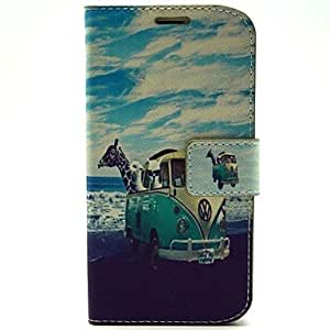 Fashionable Animal Travel Pattern PU Leather with Case and Card Slot for Samsung Galaxy S5 I9600 phone Cases