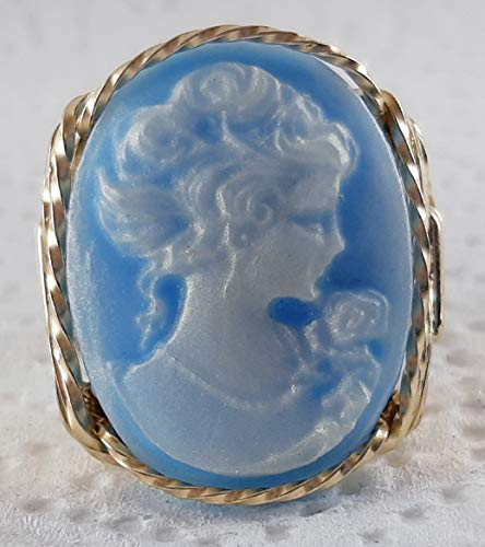 Fine Lady with rose Blue Large Cameo .925 Sterling Silver Ring or 14k Gold gf Art Jewelry HGJ