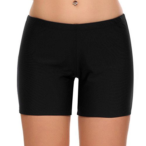 Skylin Ladies Swimming Panty Shorts Waistband Tankini Bottom Board Shorts (Black,Small) (Small Board Roller)