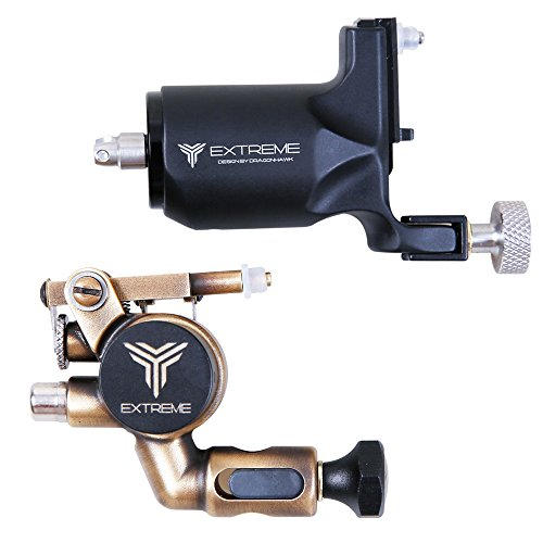 Dragonhawk Extreme and X2 Rotary Tattoo Machine Set for Tattoo Artists (Extreme Set)