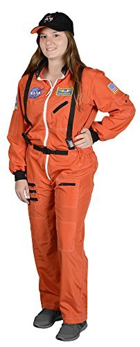 Aeromax Adult Astronaut Suit with Embroidered Cap, Orange, Large