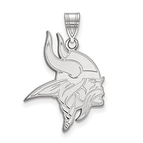 Sterling Silver Rhodium Plated Minnesota Vikings Medium Pendant, Sterling Silver