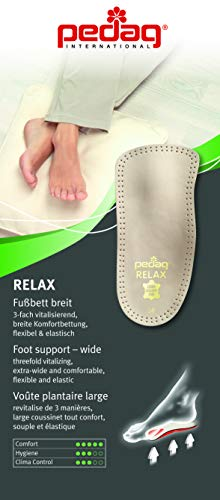 Pedag 127/128 Relax 3/4 Length Anatomically Shaped Leather Insole with Flexible Latex Heel Cup, Arch Support and Metatarsal Pad, Tan, Women's 9