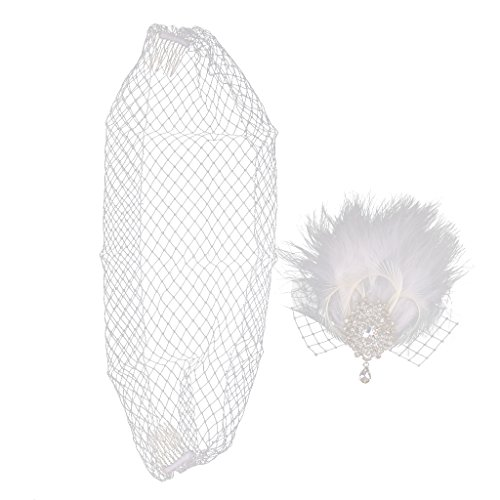 MagiDeal Diamante Birdcage Veil Net Feather Bridal Wedding Headpiece Fascinator Clip