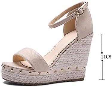 Grass Weaving Twine Toe Wedge Sandals Fashion Rivets Fish