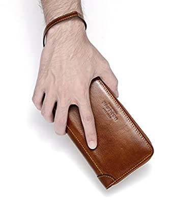 Mens Genuine Leather Clutch Bag Handbag Zipper clutch bag retro cowhide mobile phone bag large capacity clutch bag